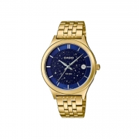 Casio Enticer Ladies Blue Dial Gold Stainless Steel Strap Watch LTP-E141G-2AV Time Inventors