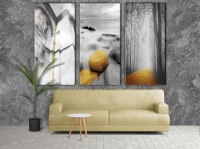 wall paintings - 3 pieces with greyish engraving