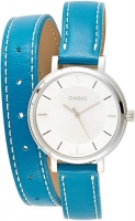 Women's Double Loop Green Leather Band White Dial Analog Watch LTP-E143DBL-3ADR Global Warranty Time inventors