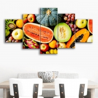 Mural painting 5 pieces in types of fruit