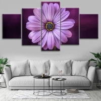 Mural painting 5 pieces shaped flower violet