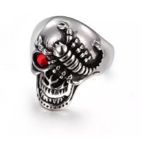 Men's ring in the shape of a skull with a scorpion