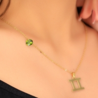 A women's necklace in the form of the Gemini symbol