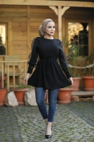 Black shirt with lined lace sleeves