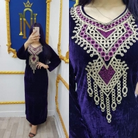 Winter Purple dishdasha with soft fabric and a wide template