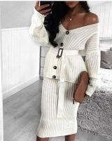 Women's blouse wool set with skirt and belt - Julie Moda