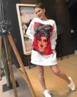 Women's long white sweatshirt - Julie Moda