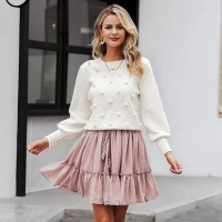 Long sleeves white winter sweatshirt - Julie Moda