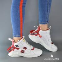 Women's white leather spor shoes- Mario Mazzini