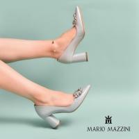 Women's light green leather shoes- Mario Mazzini