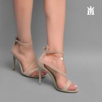 Women's suede beige high heel shoe - Mario Mazzini
