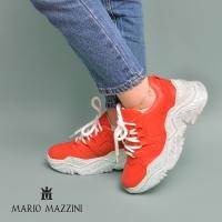 Women'sred leather sneaker shoe - Mario Mazzini