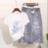 Set for women, white blouse and jeans skirt - Julie Moda