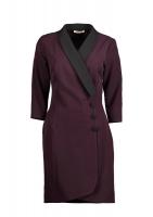 A short purple dress with a modern design