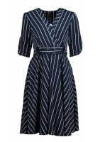 A long blue white striped dress with a short sleeves belt