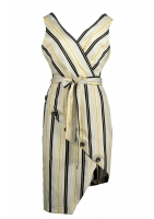 White dress with white, black and light yellow stripes
