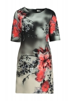 Light gray occasions dress with red roses
