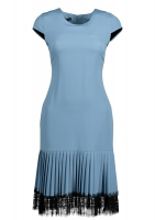 Sky dress with pleated bottom