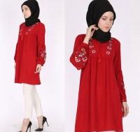 Women's red long shirt - Julie Moda