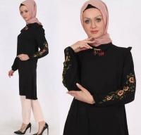 Long shirt in black color for women - Julie Moda