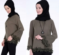 Long olive shirt for women - Julie Moda