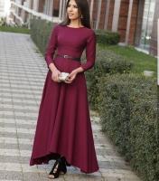 Long dress in maroon color for women - Julie Moda