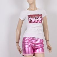 Tracksuit Two Pieces White T-shirt and Pink Shorts for Women - Julie Moda