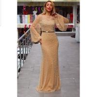 Long beige dress for women - Julie Moda