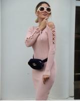 Pink Midi Dress for Women - Julie Moda