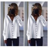 Women's White Long Sleeve Shirt - Julie Moda