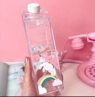 transparent square unicorn bottle