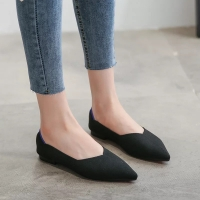Flat black women shoes