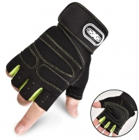 Black and green sports gloves