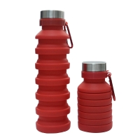 Red color foldable water bottle