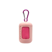 Portable towel is a light pink color