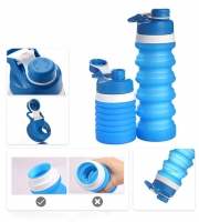 Foldable sports water bottle, light blue color