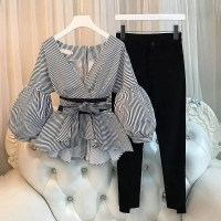Two Pieces Shirt and Pants Set for Women - Julie Moda