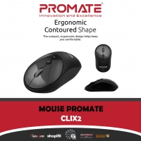Promate CLIX-2 2.4Ghz Wireless Mouse, USB Adapter, One Touch Show Desktop for Windows, Black