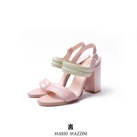 Women's Beige green high heeled leather sandal 9 cm - Mario Mazzini