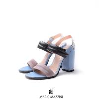 Women's Blue Black Beige leather heeled sandal 9 Cm - Mario Mazzini