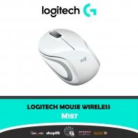 Logitech M187 Radio Wi-Fi mouse Optical Ergonomic, Built-in scroll wheel White
