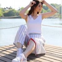 Women's White Trousers - Julie Moda