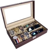 A box for organizing watches and glasses consisting of 6 boxes for the watch and 3 boxes for the glasses