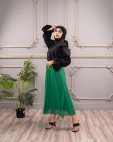 Elastic waistband georgette short sleeve skirt with a distinctive design