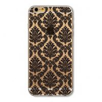Cover For iPhone6 plus silicone transparent with flowers black