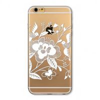 Cover For iPhone  6 plus silicone transparent  flowers white