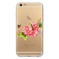 Cover For iPhone  6 plus silicone transparent with flower Colored