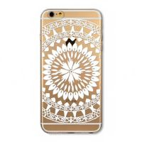 For iPhone 6 plus silicone transparent flowers simple