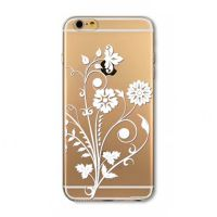 For iPhone 6 plus silicone transparent with flowers simple