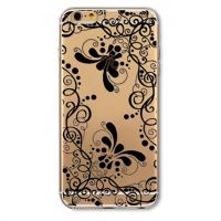 Cover For iPhone 6 plus silicone transparent with flower black